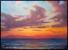 Jeff Love Art Large Original Oil Painting Bright Ocean Waves Sunset Seascape