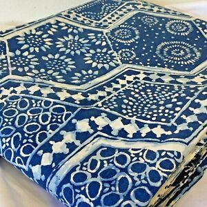 Vintage 1975 MARTEX Queen Flat Sheet 88x104 Blue Bakuba Batik No Iron Percale