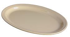 Vintage Melamine Oval Platter Narrow Rim Plates White/Tan Melmac Dinnerware 1 Dz