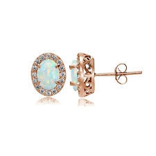 Rose Gold Flashed 925 Silver Simulated White Opal and CZ Oval Halo Stud Earrings
