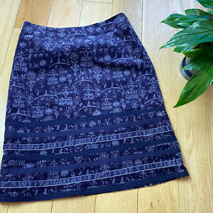 White stuff Size 10 velour a line winter smart occasion skirt knee navy floral