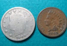 >1903, Lot of (2) Vintage 1903 LIBERTY HEAD NICKEL/LINCOLN WHEAT, Fine Coins #4