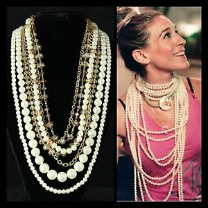 Get The Look Chunky Faux White Pearl & Amber Bead Layered Statement Necklace TS