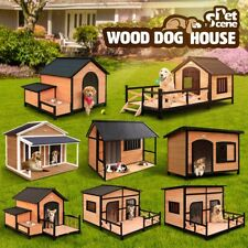 Multi Wooden Dog Kennel Timber Pet House Log Cabin w/Patio Roof Outside L XL XXL