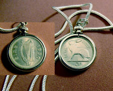 "1950 IRISH RABBIT HARP & HARE COIN Pendant on an 18k 24"" White Gold Filled Chain"
