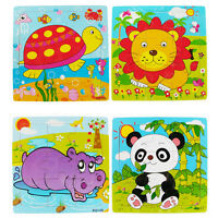 Great Multi-Colored Animal Wooden Colorful Jigsaw Puzzle Toy Toddler for Kid~9K
