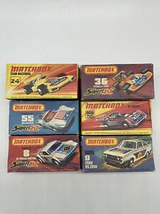 Lot of 6 Vintage Matchbox Diecast Cars Original Boxes Superfast Lot Racers