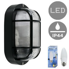 Outdoor LED Security Bulkhead Wall Light Lantern Black Plastic Lamp Candle Bulb