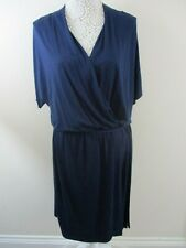 Warehouse definitives wrap dress navy size 14 bnwt jersey dress stretchy belt
