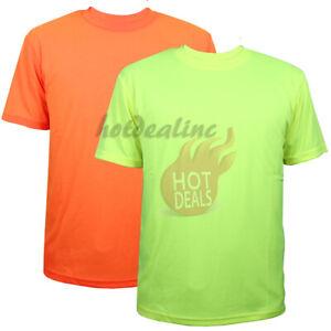 Hi Vis Work Safety Sport T-Shirt High Visibility Plain Green/Orange Short Sleeve
