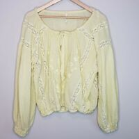 Free People Maria Lace Blouse Sz S Embroidered Floral Boho Top Yellow Lemon
