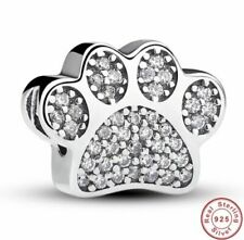 💖💖 Paw Print Dog Cat Charm Genuine 925 Sterling Silver Bead Bracelet Pet 💖💖