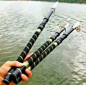 Portable Fishing Rod Pole Spinning Telescopic Carbon Fiber Hard Bulged Handle S