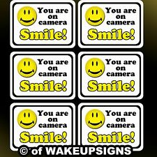 """your 6 video surveillance sticker decals 7"""" by 5"""" smile you are on camera you're"""