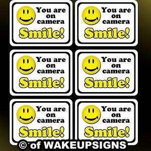 your 6 video surveillance stickers decals (SMILE you're YOU ARE ON CAMERA) cctv