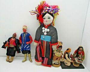 Five Vintage Travel Souvenir Dolls