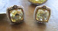 Judith Ripka Two  canary crystal earrings, SS, 18K, diamond, NWT $350