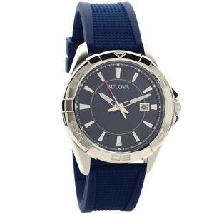 Bulova 96B298 Casual Sport Quartz Men's Watch, Stainless Steel, Blue Rubber