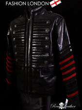 'EMPIRE' Men's Black Military Parade Style Real Hide Leather Jacket Coat 4234