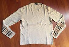BURBERRY maglione maglia pullover uomo toppa classic check taglia S beige cotone