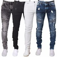 Enzo Mens Super Skinny Jeans Stretch Biker Distressed Ripped Denim Trouser Pants