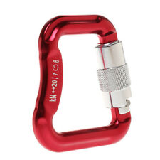 Aluminum Alloy Locking Carabiner for Climbing Rescuing Paragliding, Red