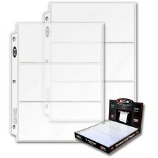 100 - 3 1/2 x 8 Currency Dollar Page Protectors by BCW Pro3C  fit 3 ring binders