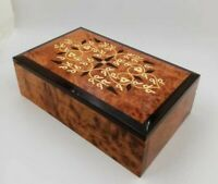Hand-Carved Wooden Jewelry Box,Moroccan Thuya Wood Keepsake Box,Decorative Box
