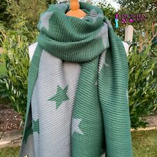 STARS STAR SCARF GREEN & GREY CRINKLE STRETCHY REVERSIBLE SCARF WOOL & COTTON