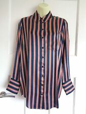 BNWT M&S Limited Edition navy striped longer length satin shirt sz 10