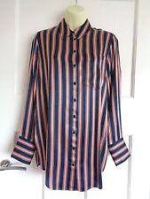 NUOVO con Etichetta M&S Limited Edition Blu Navy a righe più lunga RASO shirt Sz 10