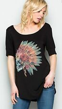 COWGIRL GYPSY Sugar Skull Indian Headdress SOUTHWEST TEE shirt Western MEDIUM