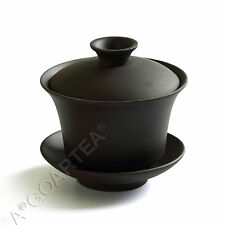 90ml Black Chinese YiXing ZiSha rare Pottery clay GaiWan Gongfu Tea Cup & Saucer