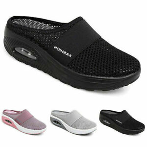 Womens Ladies Cushioned Sports Sandals Shoes Comfy Mesh Walking Slip On Sneakers