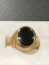 18 K gold plated Estate Jewelry New listing mens ring size 8 black stone