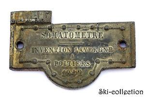 Ancienne Plaque SOMATOMETRE, Invention Lavergne à Poitiers 1842. Plomb