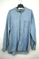 Levis Jeans Mens Light Denim Button Down Long Sleeve Cotton Casual Shirt Sz XL