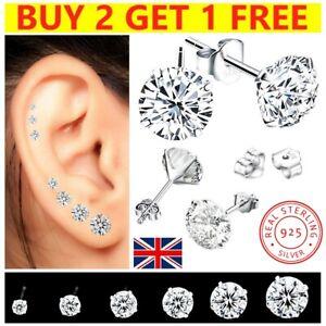 Women Men Genuine 925 Sterling Silver Cubic Zirconia Stud Earrings Ladies Set CZ