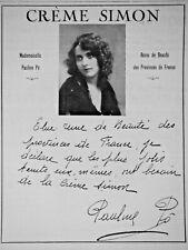 PUBLICITÉ DE PRESSE 1922 CRÈME SIMON PAULINE PÔ REINE DE BEAUTÉ - ADVERTISING