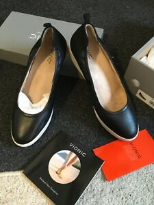 Exc con *VIONIC* Womens Orthotic JAYCEY Wedge Shoes Black Leather UK Size 9 43