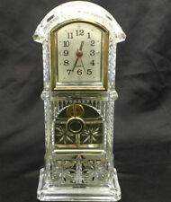 New listing Mantle Shelf Pendulum Clock Small Table Desk Parts or Repair Clear Acrylic