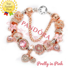 Authentic Pandora Bracelet Silver Bangle with Rose Gold Pink European Charm New