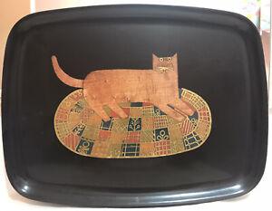 "COUROC By Monterey 12.5""x9.5"" Handmade Inlaid Cat Tray"