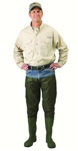 Caddis Wading Systems CA2301W10 2 Ply Nylon/PVC Hip Boots, Cleated Sole, Green,