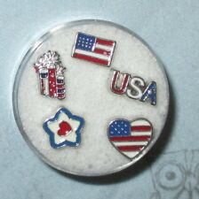 CLEARANCE LOT #40 USA 4TH OF JULY FIREWORKS FLOATING CHARM SET MEMORY LOCKETS