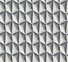 Negro Blanco 3D Geométrico Retro Vinilo con textura Papel Pintado pegar la función de pared