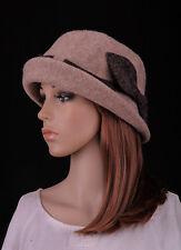 NM411 Beige Rock Bow Roll Brim Women's Wool Acrylic Winter Cloche Hat Bucket Cap
