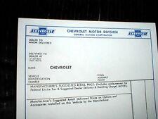 CHEVY BELAIR 55 56 57 +  WINDOW PRICE BUILD SHEET   5 PCS