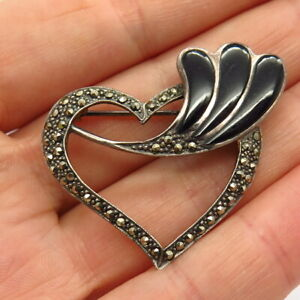 925 Sterling Silver Real Marcasite & Black Onyx Heart & Branch Design Pin Brooch