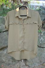 Monteau Sz SMALL / S Stud OLIVE GREEN Army Hi-Low Button Up Blouse Loose Fit Top